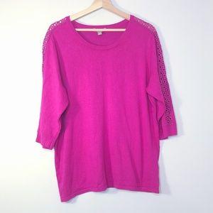 Roz & Ali Fuschia Pink Embellished Sleeve Sweater